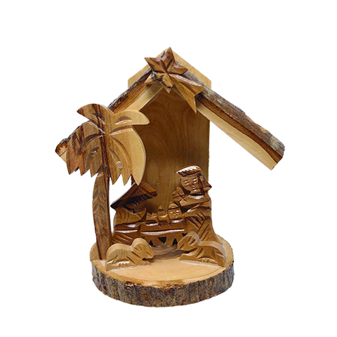 Holy Land Olive Wood 3D Nativity Scene Grotto Ornament - Medium