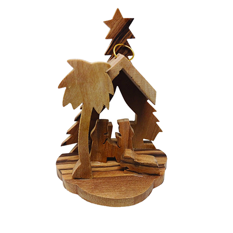 Olive Wood 3D Nativity Scene Grotto Ornament - Small