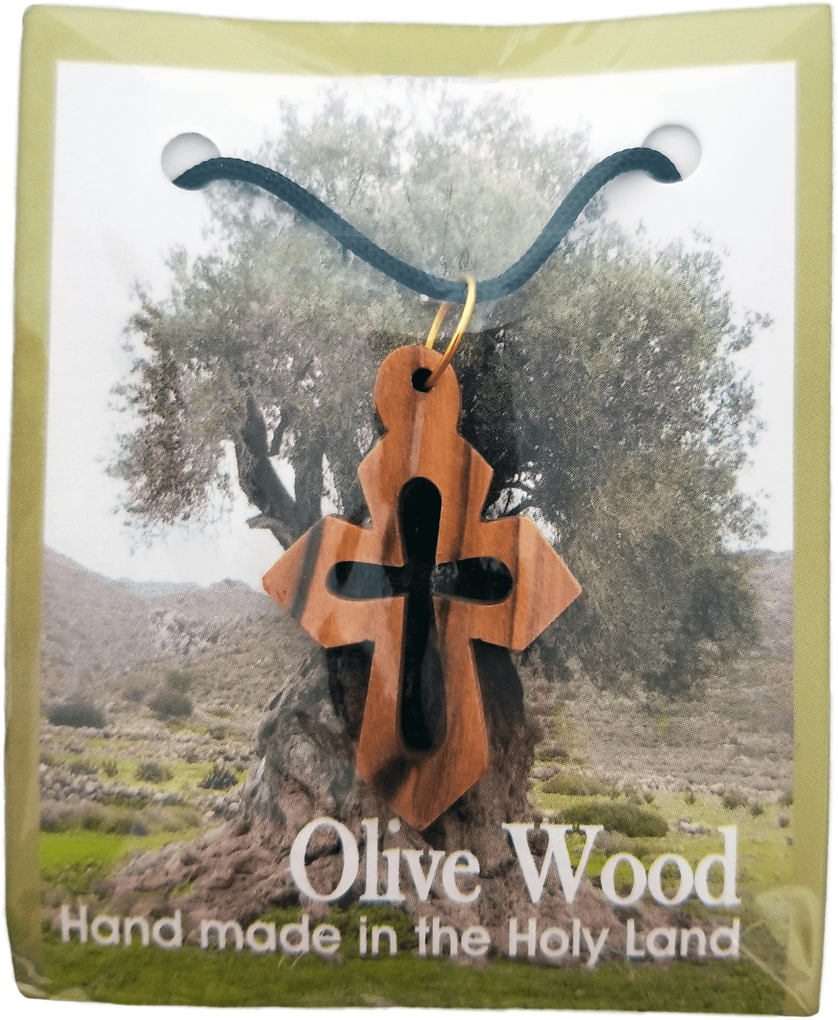 Olive Wood Cross Cutout Necklace with Pointed Edges packaging