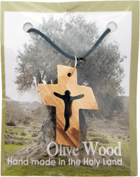Holy Land Olive Wood Pendant Necklace, Cross with Jesus Cut Out - Logos Trading Post, Christian Gift
