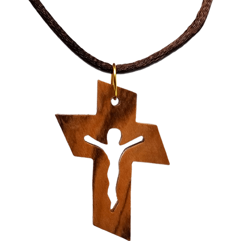 Holy Land Olive Wood Pendant Necklace, Cross with Jesus Cut Out