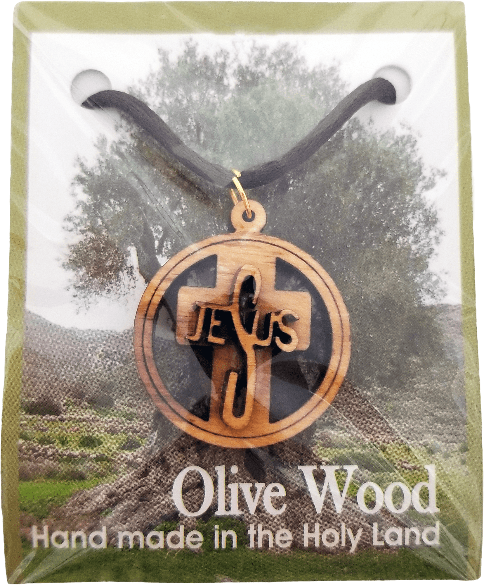 Holy Land Olive Wood Pendant Necklace, Round Jesus Cross Raised - Logos Trading Post, Christian Gift