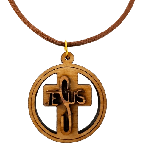 Olive Wood 3D Jesus Cross Round Necklace