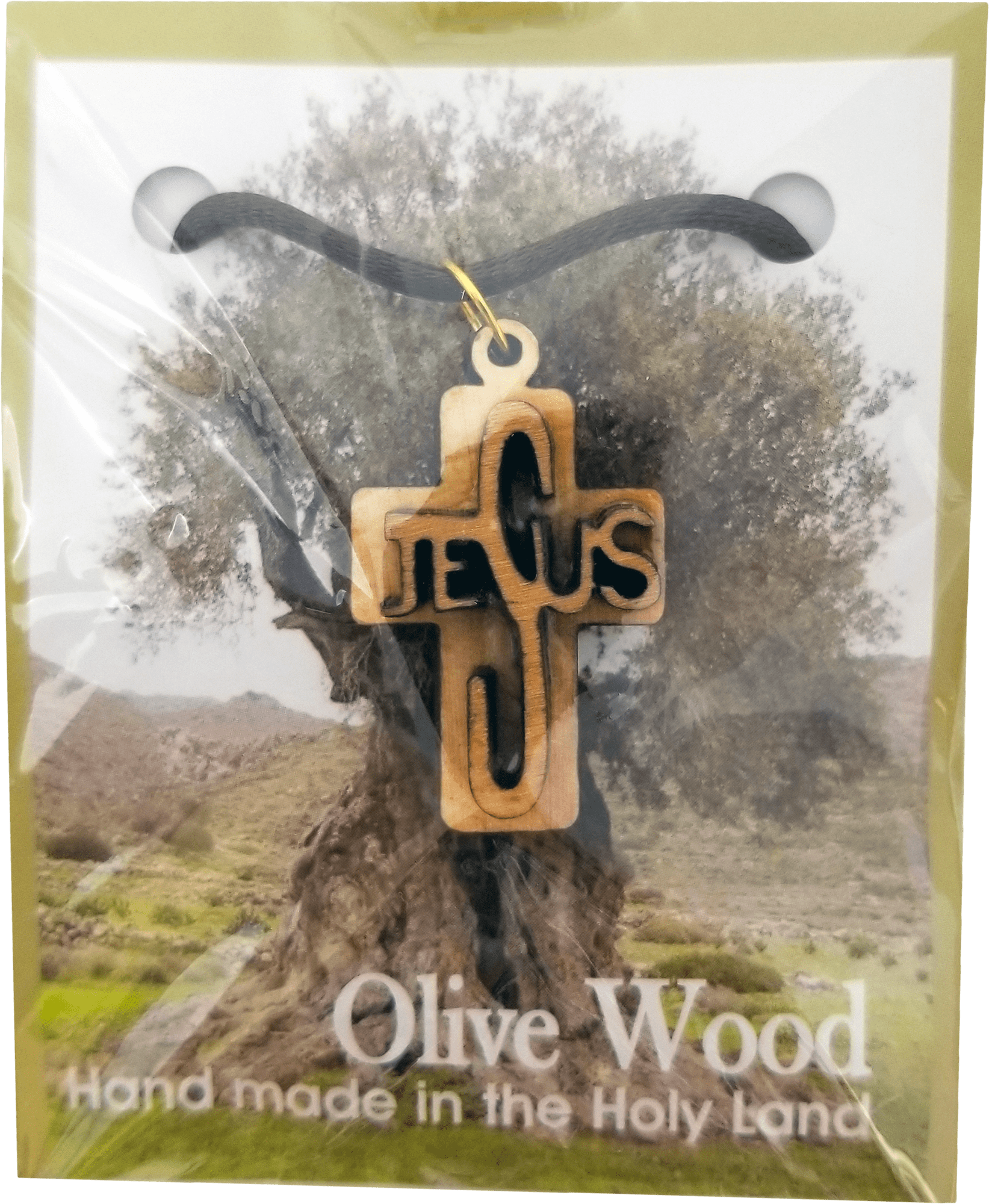 Holy Land Olive Wood Pendant Necklace, Jesus Cross Raised - Logos Trading Post, Christian Gift