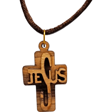 Olive Wood 3D Jesus Cross Necklace