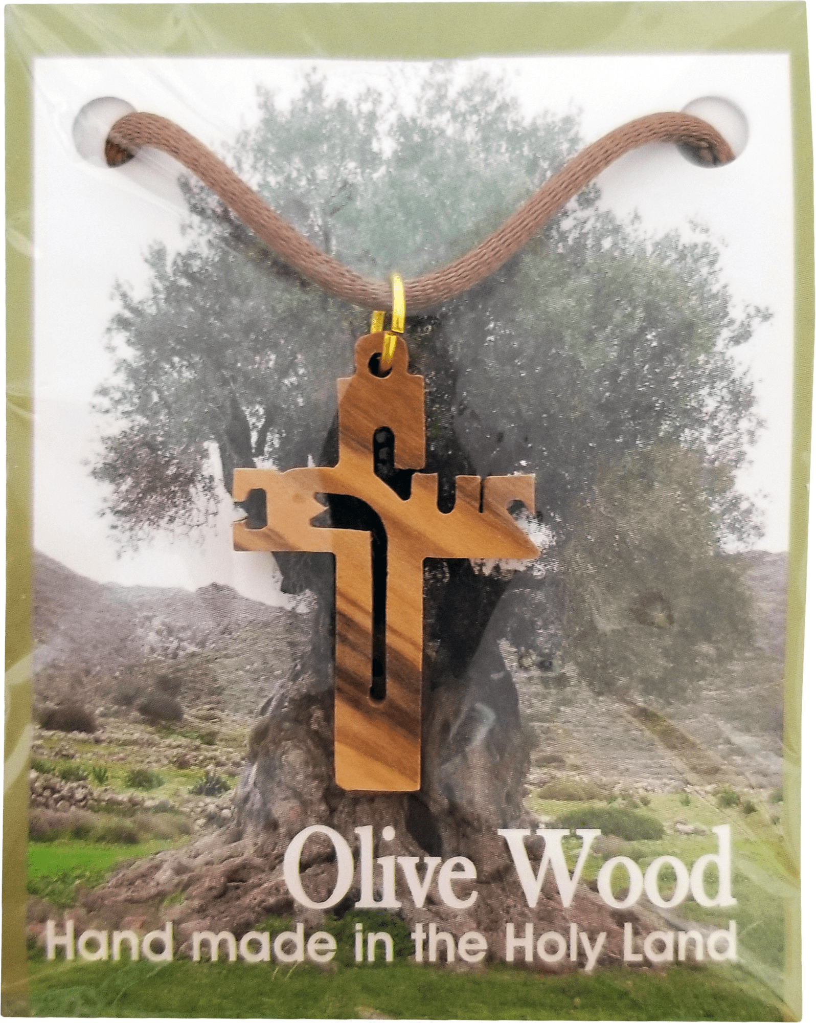Holy Land Olive Wood Pendant Necklace, Jesus Cross Cut Out - Logos Trading Post, Christian Gift