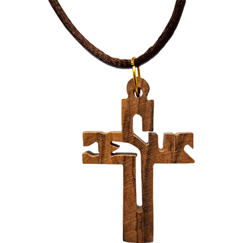Holy Land Olive Wood Pendant Necklace, Jesus Cross Cut Out