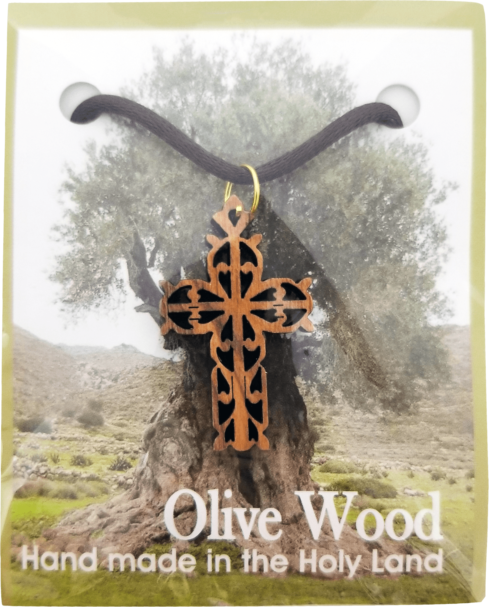 Holy Land Olive Wood Pendant Necklace, Filigree Cross Flat - Logos Trading Post, Christian Gift