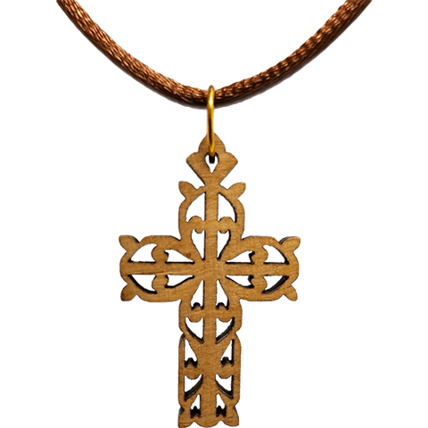 Olive Wood Flat Filigree Cross Necklace