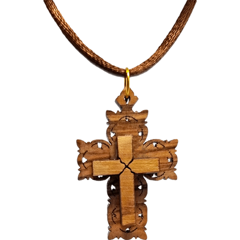 Olive Wood Raised Filigree Cross Necklace