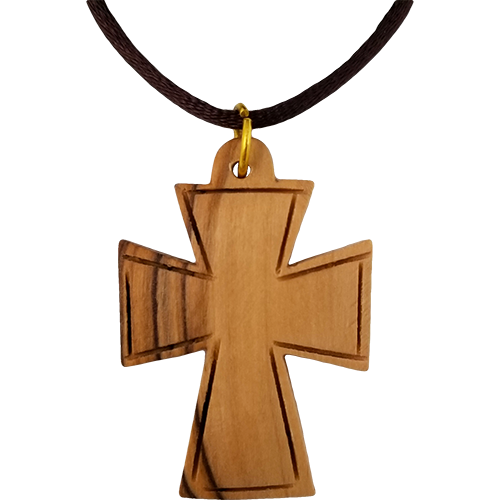 Holy Land Olive Wood Pendant Necklace, Celtic Cross Large - Logos Trading Post, Christian Gift