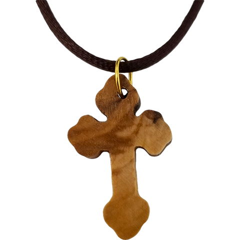 Olive Wood Flat Greek Orthodox Cross Necklace