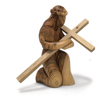 Holy Land Olive Wood Kneeling Jesus With Cross Figurine