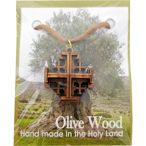 Holy Land Olive Wood Pendant Necklace, Jerusalem Cross - Logos Trading Post, Christian Gift