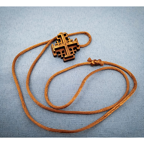 Olive Wood Jerusalem Cross Necklace with brown cord