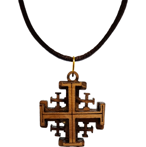 Holy Land Olive Wood Pendant Necklace, Jerusalem Cross