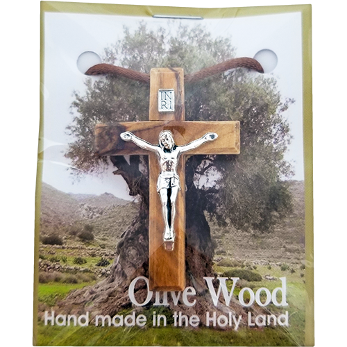 Holy Land Olive Wood Pendant Necklace, Cross with Crucifix - Logos Trading Post, Christian Gift