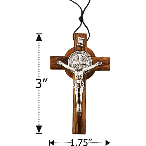 "Saint Benedict 3"" Cross Necklace - Small"