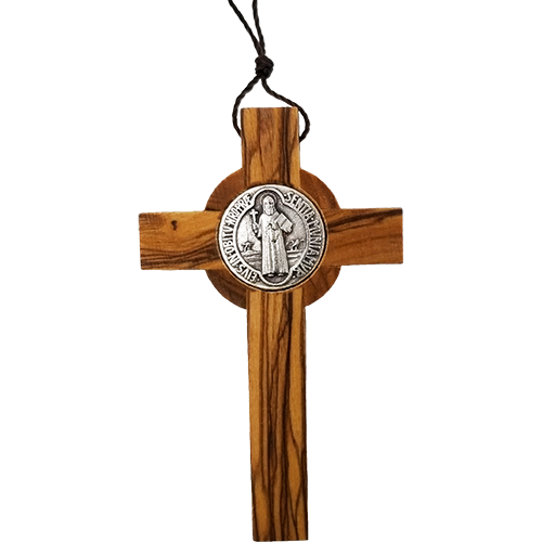 "3"" Necklace- Saint Benedict Cross - Holy Land Olive Wood -Small"