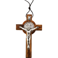 Holy Land Olive Wood Saint Benedict Cross - Small - Logos Trading Post, Christian Gift