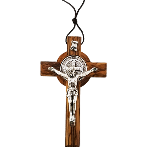 "Saint Benedict Olive Wood 3"" necklace with cord"