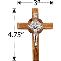 Holy Land Olive Wood Saint Benedict Hanging Wall Cross - Medium - Logos Trading Post, Christian Gift