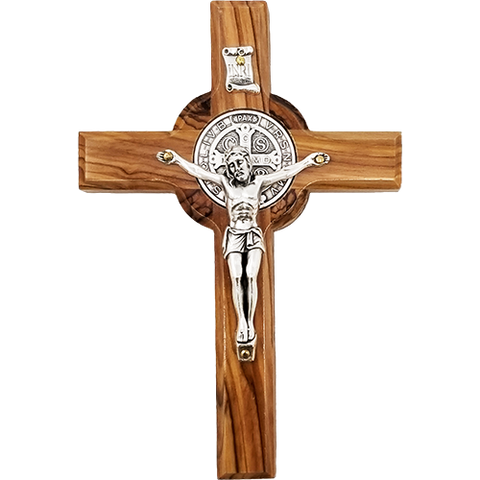 Saint Benedict Hanging Wall Cross, Olive Wood 4.75""