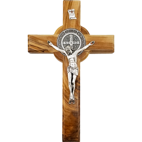 Holy Land Olive Wood Saint Benedict Hanging Wall Cross - Large