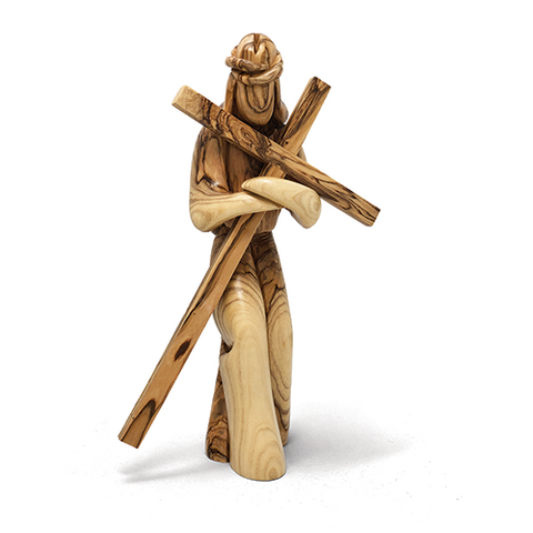 Holy Land Olive Wood Jesus With Cross Figurine