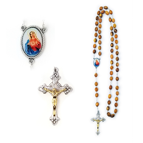 Holy Land Olive Wood Rosary with Oval Medal, Immaculate Heart of the Virgin Mary