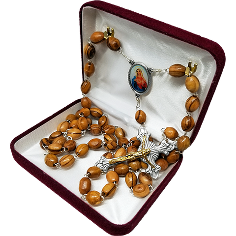 Olive Wood Rosary with Immaculate Heart of the Virgin Mary Oval Medal in velvet box