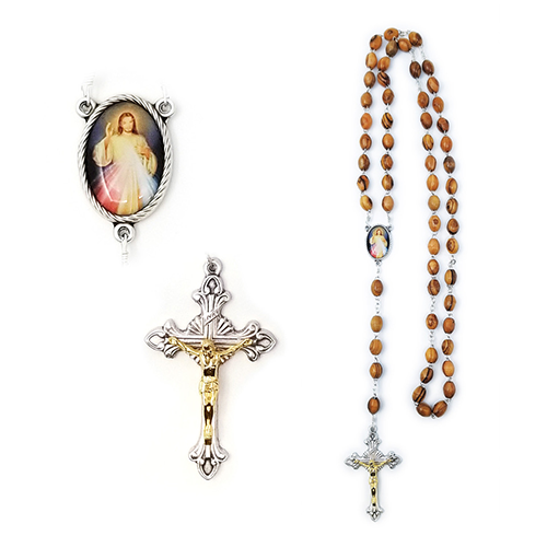 Olive Wood Rosary with Divine Mercy of Jesus Oval Medal close view of features
