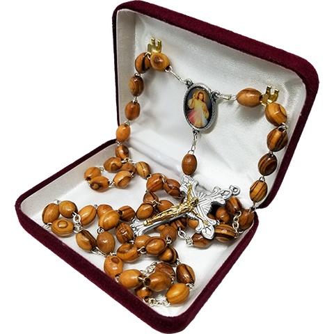 Olive Wood Rosary with Divine Mercy of Jesus Oval Medal in velvet box