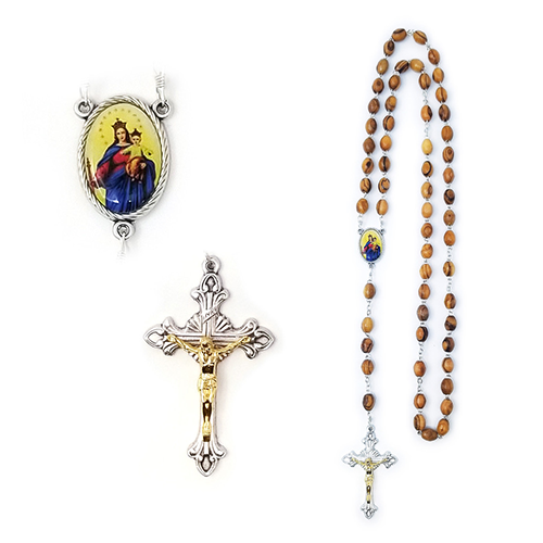 Holy Land Olive Wood Rosary with Oval Medal, Virgin Mary and Jesus, Our Lady of Perpetual Help Icon