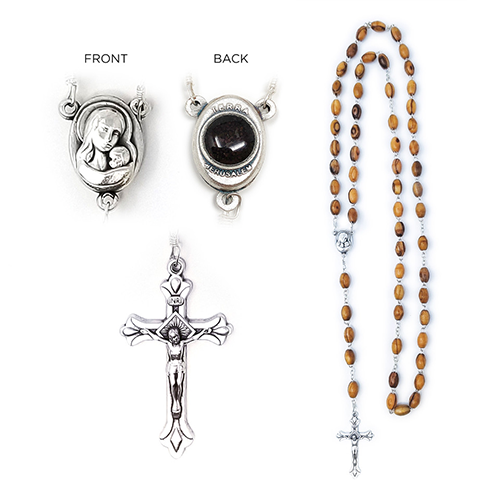 Holy Land Olive Wood Rosary with Oval Medal and Jerusalem Soil, Virgin Mary and Jesus Silver