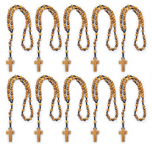 bulk olive wood rosary, cord style pack of 10 bulk