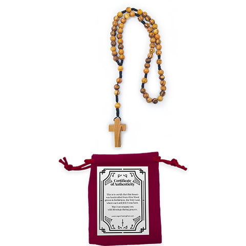 olive wood rosary, cord style pack of 1, shown with red velvet and certificate of authenticity