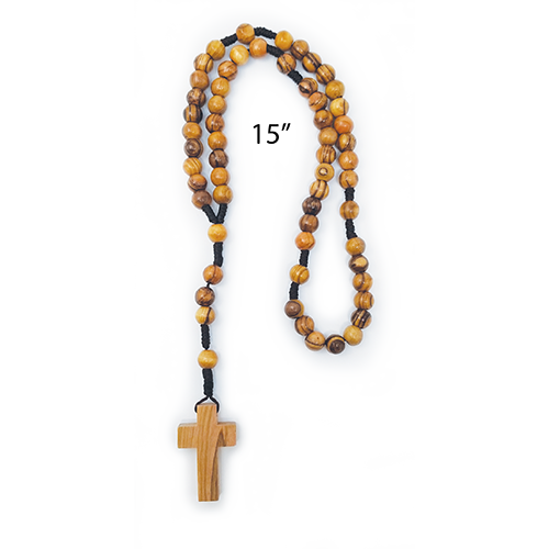 "bulk olive wood rosary, cord style pack of 10, single rosary shown with 15"" size"