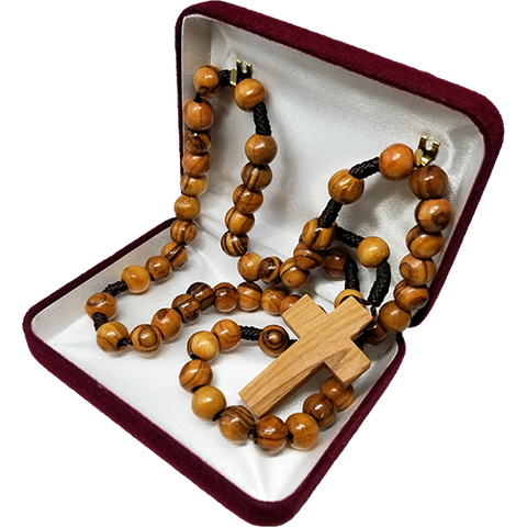 Olive Wood Robe Rosary with Dangling Cross Pendant in velvet box