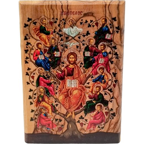 Jesus and the 12 Apostles Olive Wood Color Icon