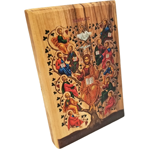 Jesus and the 12 Apostles Olive Wood Color Icon side view