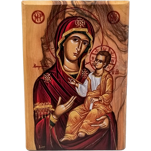 Virgin Mary of Jerusalem Olive Wood Color Icon