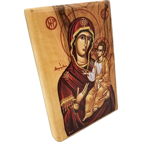 Virgin Mary of Jerusalem Olive Wood Color Icon side view