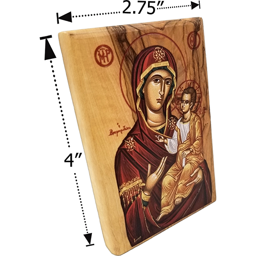 Virgin Mary of Jerusalem Olive Wood Color Icon dimensions