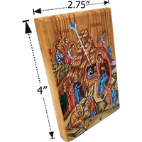 Holy Land Olive Wood Color Icon, Traditional Nativity Scene - Logos Trading Post, Christian Gift