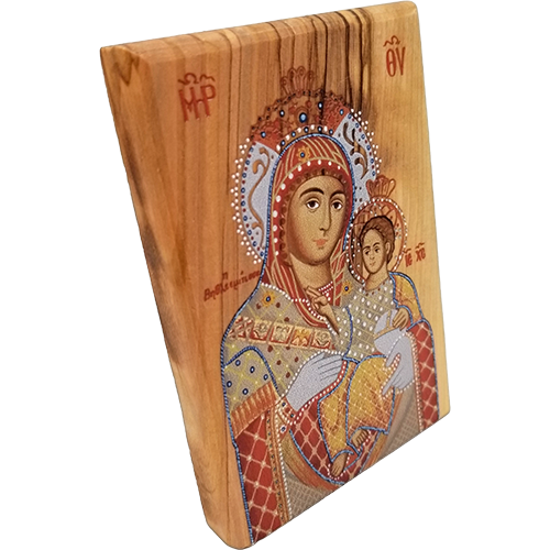 Holy Land Olive Wood Color Icon, Virgin Mary of Bethlehem