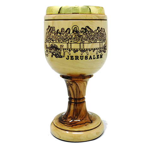 Holy Land Olive Wood Chalice - The Last Supper
