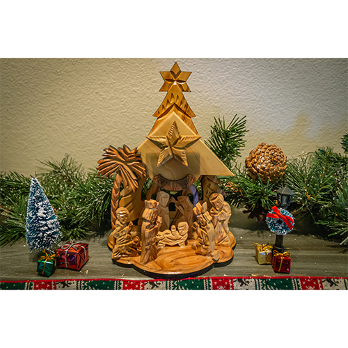 Holy Land Olive Wood Musical Nativity Grotto from Israel, Large Wooden Nativity Scene for Christmas in Gift Ready Box, Holy Family in the Manger Following the Star, Tabletop Indoor Nativity Scene