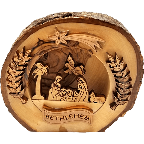 Holy Land Olive Wood Round Nativity with Bark