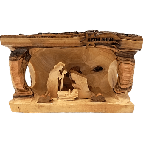 Nativity Grotto Log With Bark 3D Holy Land Olive Wood - Large- Made in Bethlehem